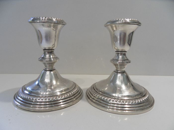 Empire - Empire - Heavy pair of large silver candlestick (2) - .925 silver
