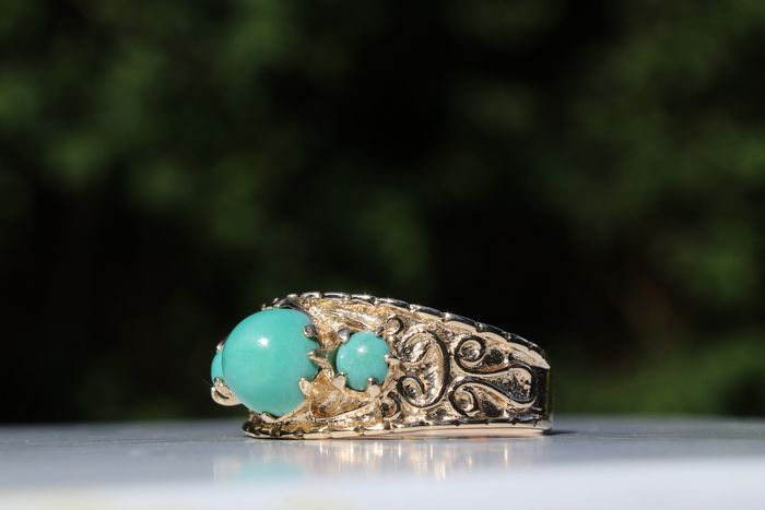 9ct  Gold - Ring Turquoise - size M - 3.62 g - No Reserve Price