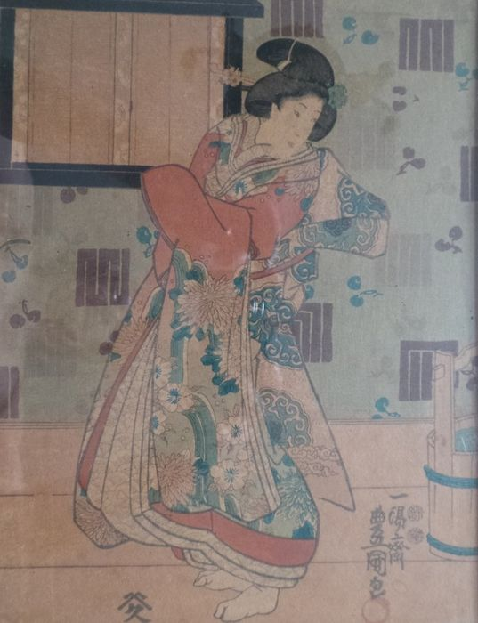 Original woodblock print - Utagawa Kunisada (1786-1865) - Kabuki actor on stage in the role of a courtesan - 1851-53