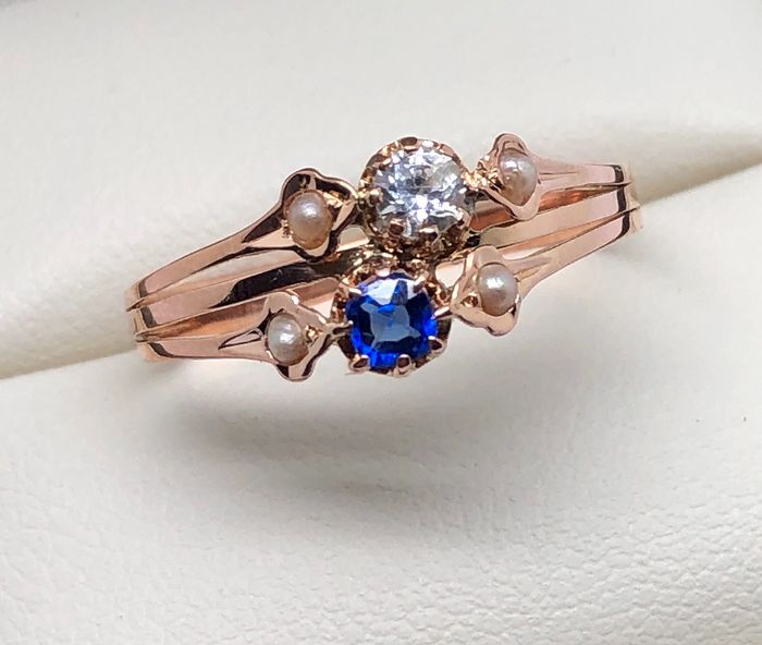 18 kt. Pink gold - Ring Blue and White Sapphires - Fine Pearls
