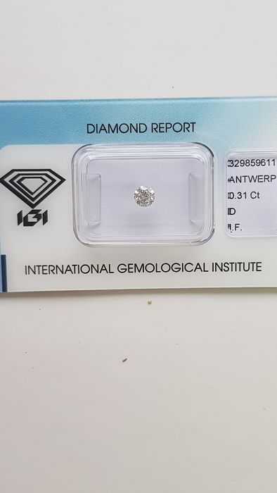 1 pcs Diamond - 0.31 ct - Brilliant - D (colourless) - IF (flawless)