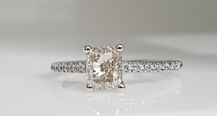 14 kt. White gold - Ring - 0.98 ct Diamond - No Reserve VS2
