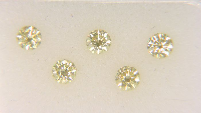 5 pcs Diamant - 0.45 ct - Rund - fancy vivid yellow - VS1, VS2, VVS1, VVS2, No Reserve Price!