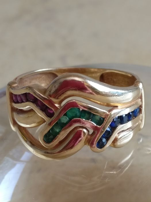 18 kt. Gold - Ring - 0.18 ct Emerald - Ruby, Sapphire