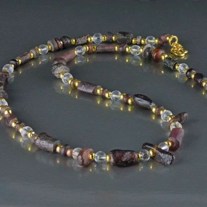 Ancient Roman Glass Necklace with purple glass beads