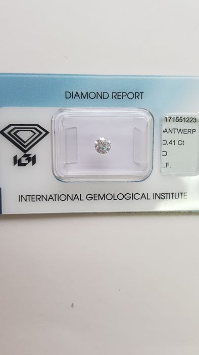 1 pcs Diamant - 0.41 ct - Brillant - D (incolore) - IF (pas d'inclusions)