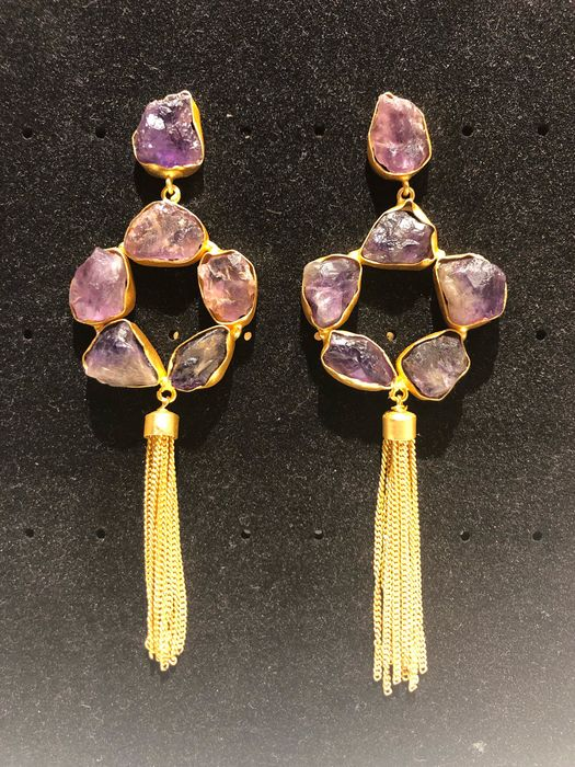 Gold plated - Earrings Amethyst