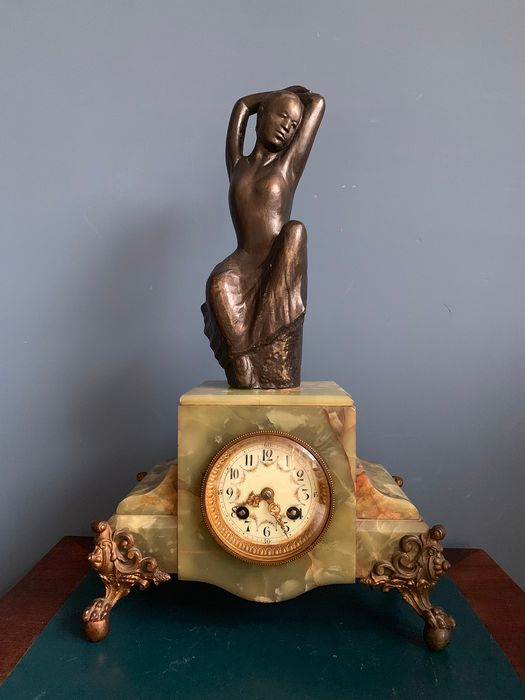 French antique clock with dancer, wedding - Victorian style -marble, gold plated, bronzed