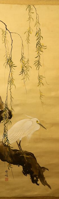 Hanging scroll - Paper, Silk, Wood - White egret under willow - With signature and seal 'Ryu-u' 柳塢 - Japan - ca. 1920-40 (Taisho to Showa period)