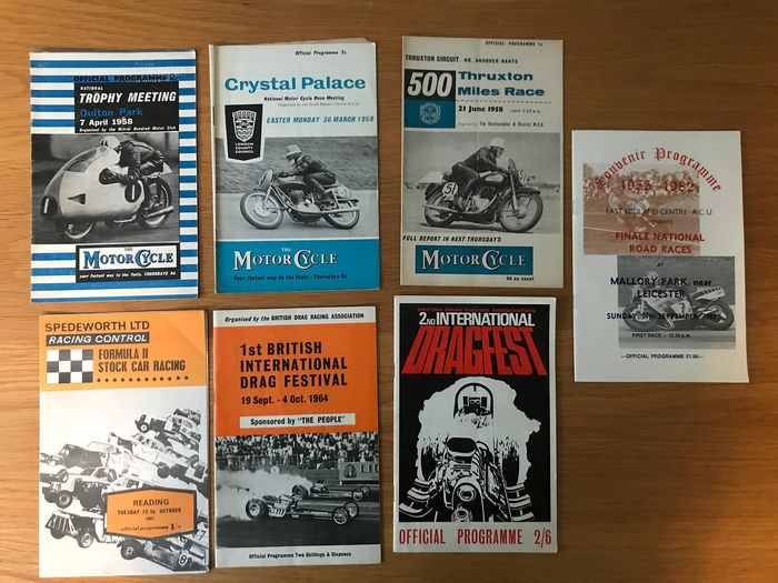 programmes - 7 x Programmes  Motor Cycle Racing & Dragster Racing Number 1 &2 1964  - 1958-1982