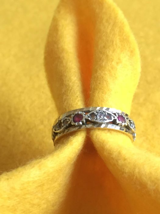 9 ct/925 Silver Gold - Ring Ruby - Diamonds