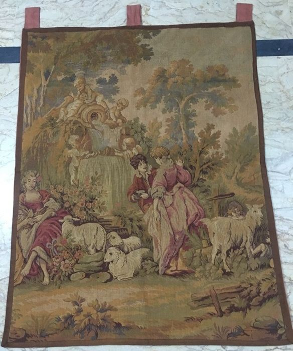 Antique  French Tapestry - Tapisserie - Style Romanesque - Coton