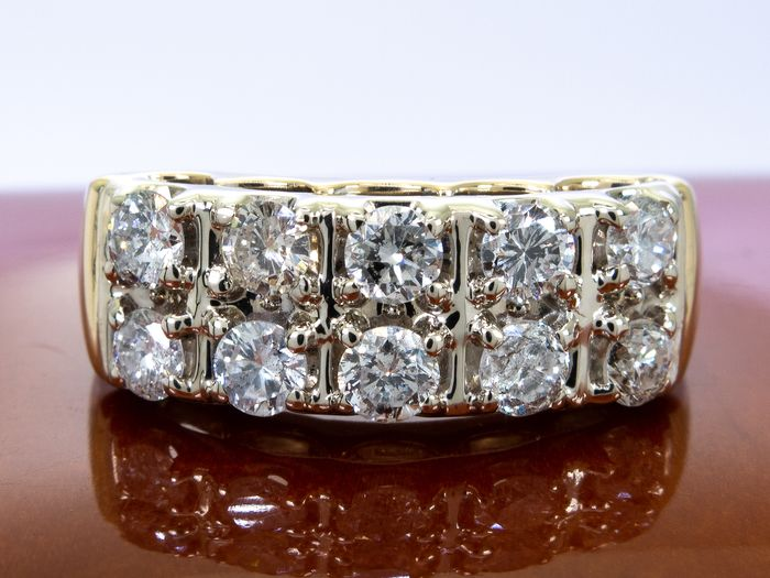 14 kt. Gold - 1.07 carats - Diamond double row ring