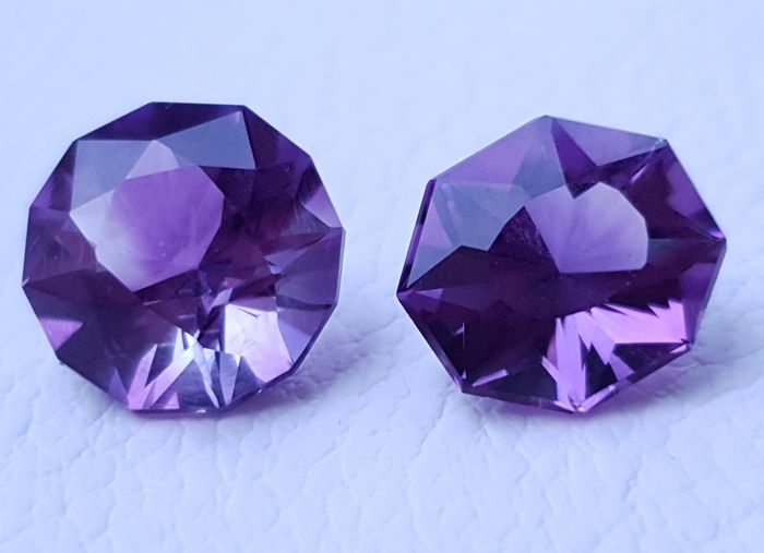 2 pcs Purple Amethyst - 14.80 ct