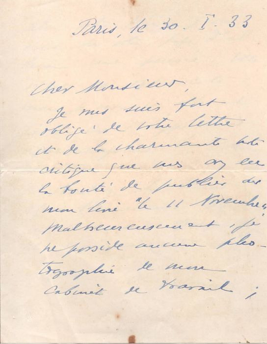 "Maxime Weygand General - Autograph; Letter with Thanksgiving about the Positive Review of his Book ""11 November"" - 1933"