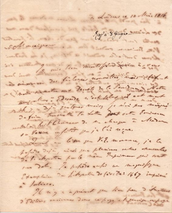 Count George Spencer II - Autograph; Letter with Cardinal Cesare Brancadoro's response, about Old and Rare Books - 1816