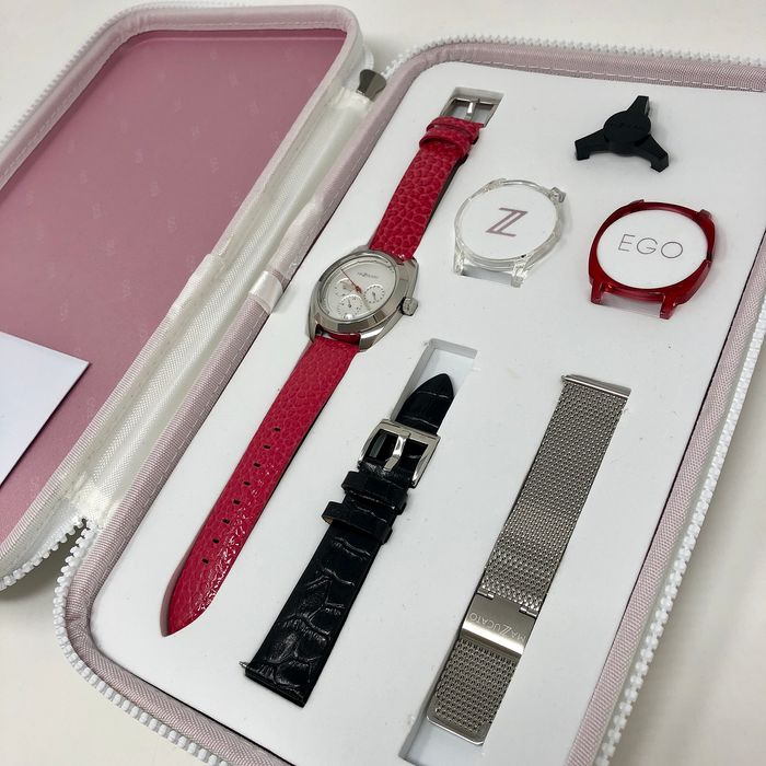 """Mazzucato  - Ego Multi Ego Pink Calendar Customisable with Three Straps and Three Cases - E.G.O.004SILVER  """"NO RESERVE PRICE"""" - Senhora - Brand New"""
