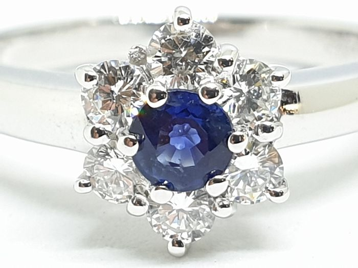 18 kt. White gold - Ring - 0.38 ct Sapphire