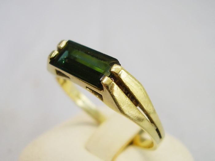 14 kt yellow gold - ring - 2.00 ct tourmaline (tested)