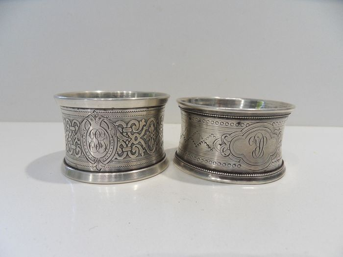 Napkin ring (2) - .950 silver - Joseph Crossard et Auguste Vaneste - France - Late 19th century