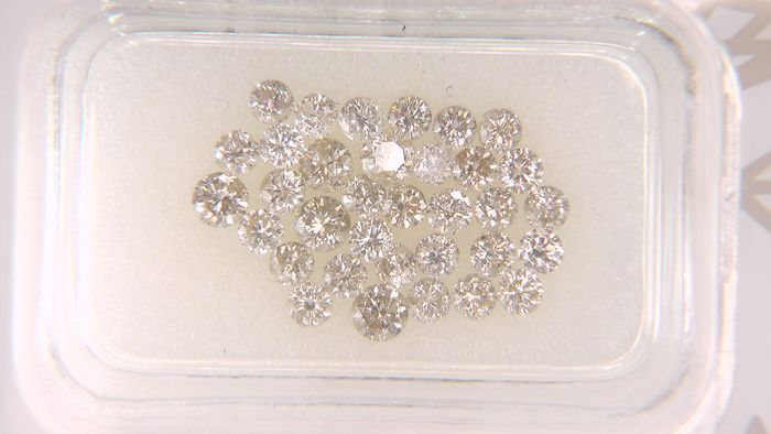 34 pcs Diamond - 1.45 ct - Round - I, light brown - I2, VS1, No Reserve Price!
