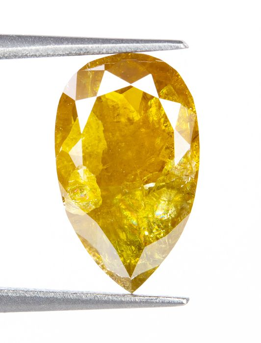 Diamant - 1.52 ct - Natural Fancy INTENSE Brownish Yellow - I3  *NO RESERVE*