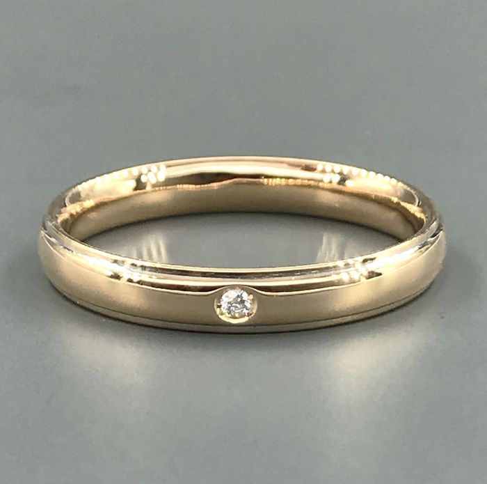 UnoAErre - 18 kt. Yellow gold - Ring, Wedding ring - 0.03 ct Diamond