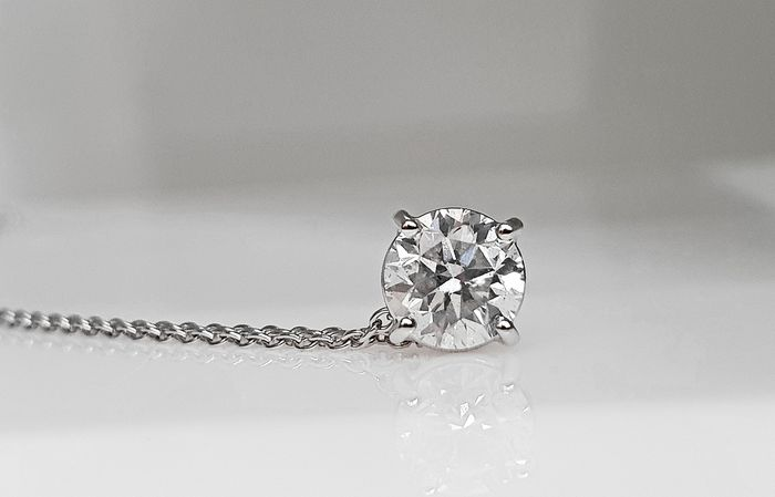 14 kt. White gold - Necklace, Necklace with pendant, Pendant - 1.10 ct Diamond - No Reserve