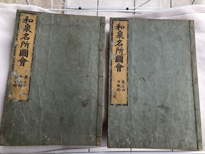 "Illustration books, Original woodblock print (2) - By Akisato Ritō 秋里籬島 and Takehara Shunchōsai 竹原春朝斎 - ""Izumi meisho zue"" 和泉名所図会 (Famous Places in Izumi), voll. 3 and 4 - 1796"