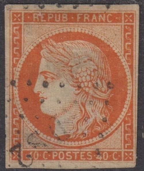 Francia 1850 - Ceres imperforate, 40 centimes orange, variety 4 retouched - Yvert 5d