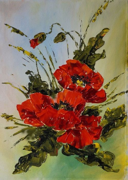 "Lana Kanyo - Oil painting, palette knife, ""Poppies bouquet"""