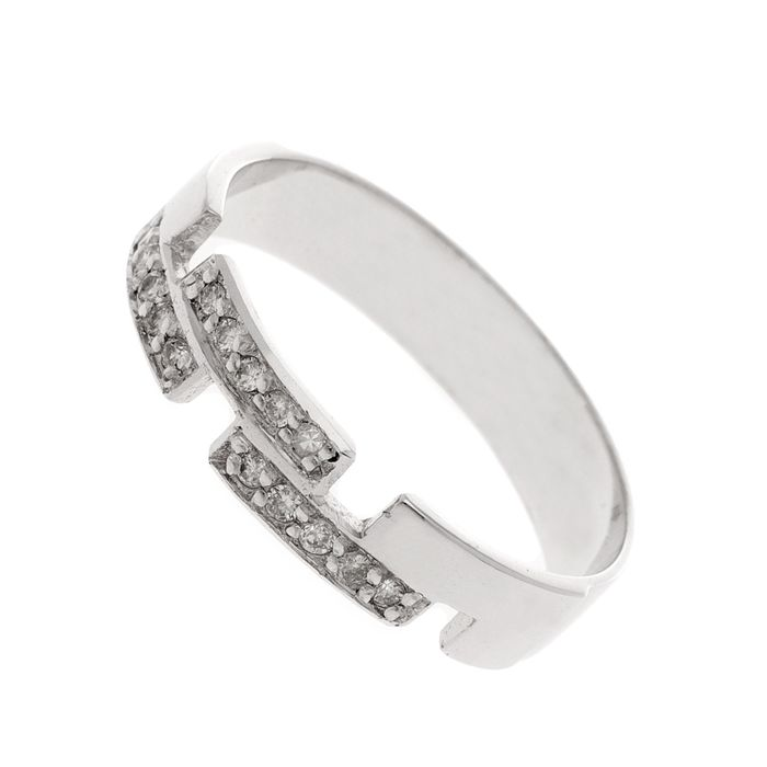 18 kt. Gold, White gold - Ring - 0.30 ct Diamond