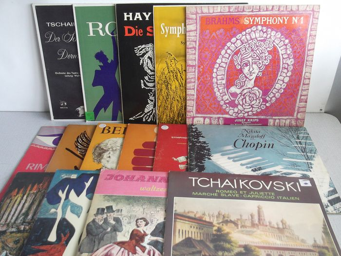 Mozart, Haydn, Beethoven, Tchaikovsky, Dvorak, Bruckner, Brahms, Chopin and more - Multiple artists - Collection Of 15 Musical Masterpiece Society & Concert Hall Albums In Near Mint Condition.  - Multiple titles - 2xLP Album (double album), LP's - 1959/1969