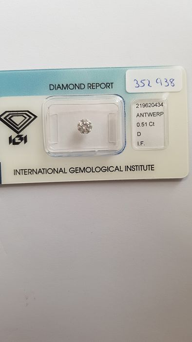 1 pcs Diamant - 0.51 ct - Brillant - D (farblos) - IF (makellos)