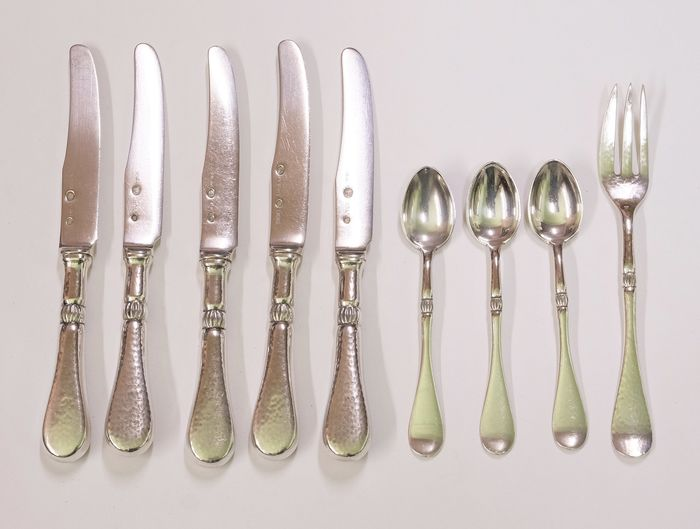 Bestek, 5 messen, 3 lepels, 1 vork, Art Deco - .826 zilver - I. Holm / Christian F. Heise, 1904-1932 - Denemarken - 1904 - 1932
