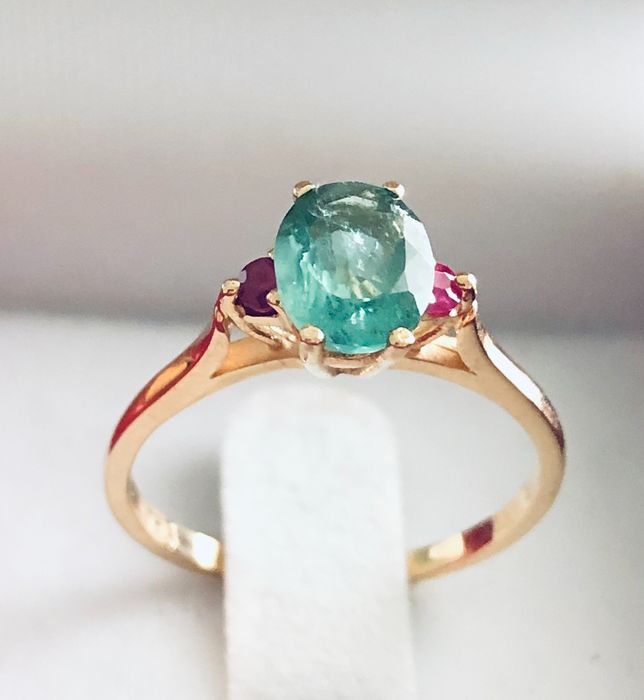 18 kt. Yellow gold - Ring - 0.94 ct Tourmaline - Rubies