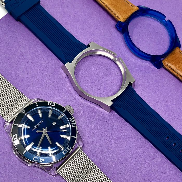 "Mazzucato - Ego Centric Blue Customisable with Three Straps and Three Cases - E.G.O.004BLACKBLUE ""NO RESERVE PRICE"" - Homme - Brand New"