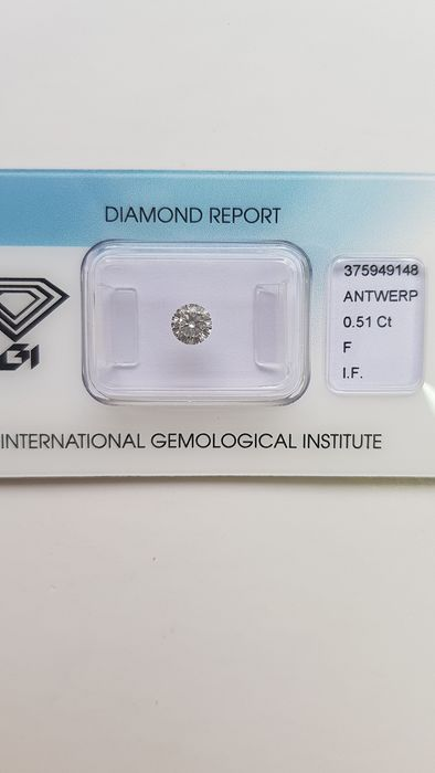 1 pcs Diamant - 0.51 ct - Brillant - F - IF (makellos)