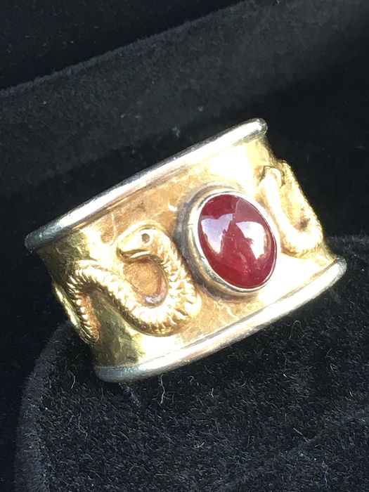 Gold/silver - Wide-band ring from the '70s, 18 kt gold and silver