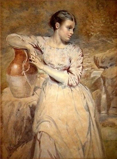 Pietro Scoppetta (Amalfi 1863 - Napoli 1920 ) Painter of Belle Epoque - Young pleasant with a jug