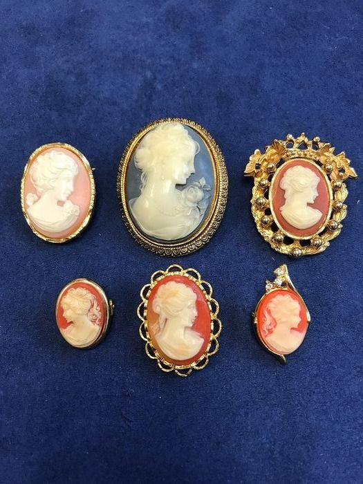 Mixed - 6 Cameo Brooches