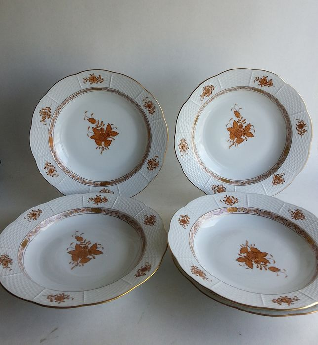 Herend - 5 platos de sopa Apponyi naranja-marrón 503 AM - Porcelana