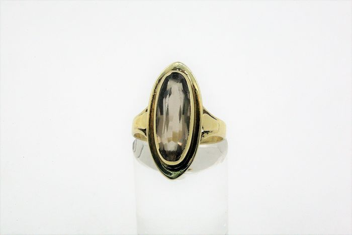 8 kt. Yellow gold - Ring Smoky quartz