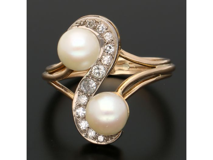 18 kt. Bicolour, Gold - Ring - 0.24 ct Diamond - Pearl