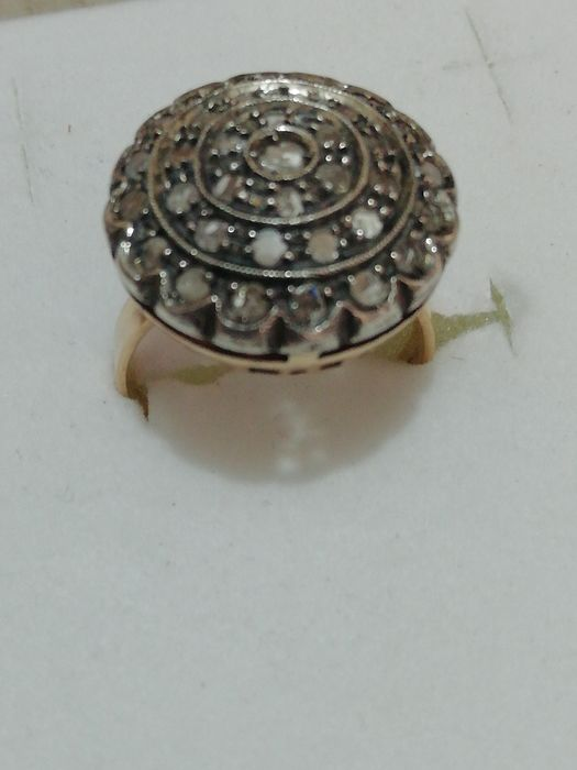 14 kt gold, silver - Ring, rose coronet cut diamonds