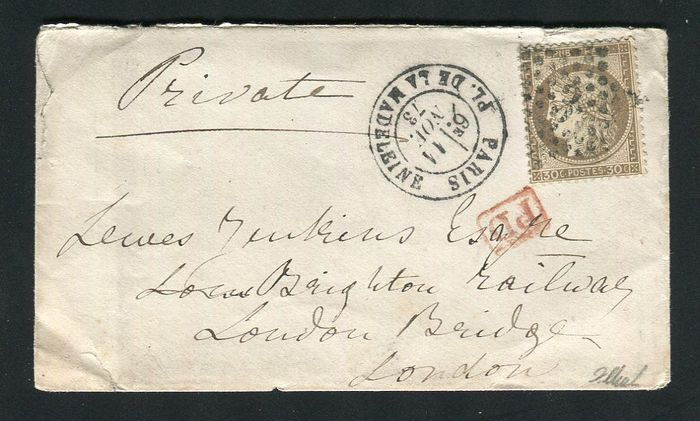 Francia 1873 - Superb letter from Paris bound for London with a No. 56 - Etoile 3 Place de la Madeline postmark