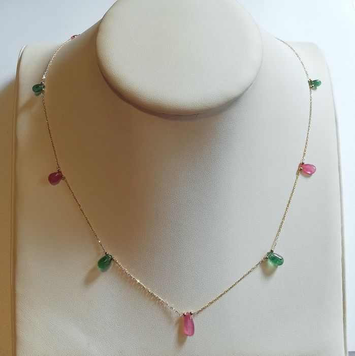 14 kt. Gold, Yellow gold - Necklace Emerald - Ruby
