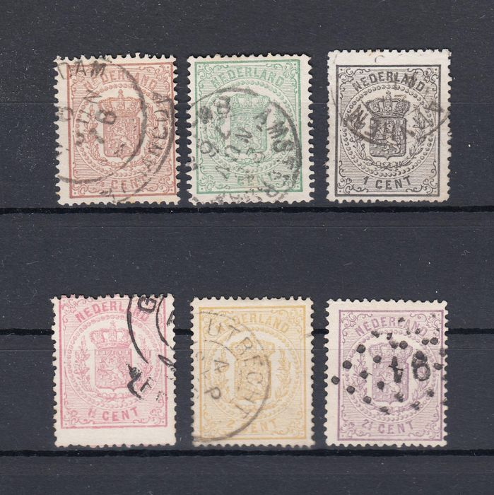 Países Bajos 1869 - Coat of arms stamps - NVPH 13/18