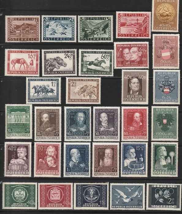 Oostenrijk 1946/1954 - Collection with complete sets. - ANK  771--1019 mit u.a.924-30 ,941 --44 ,964 -66 .