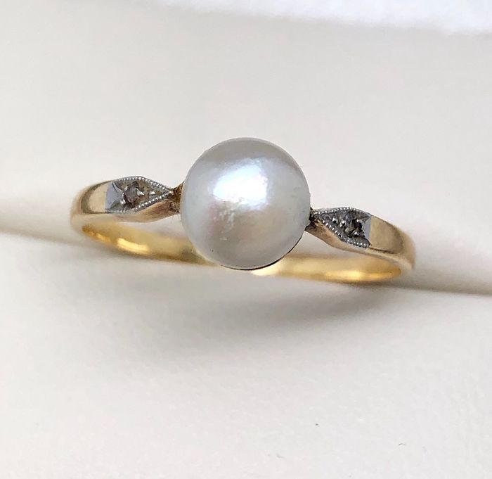 18 kt. Platinum, Yellow gold - Ring, Art Deco Fine pearl - Diamonds